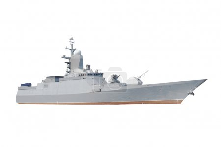 Military ship under the white background...