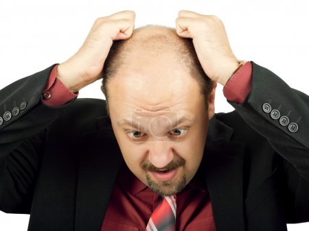 Photo for Businessman in depression with hands on head isolated over white - Royalty Free Image