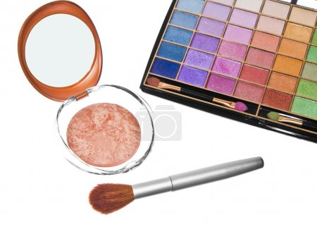 Eyeshadows, powder and brush