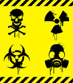 Set of 4 warning signs with grunge elements