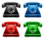 Set of 4 color retro telephones