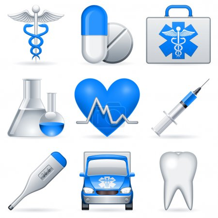 Photo for Set of 9 medical icons. - Royalty Free Image