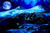 """Постер, картина, фотообои """"Лунная ночь в МТ Эльбрус"""""""