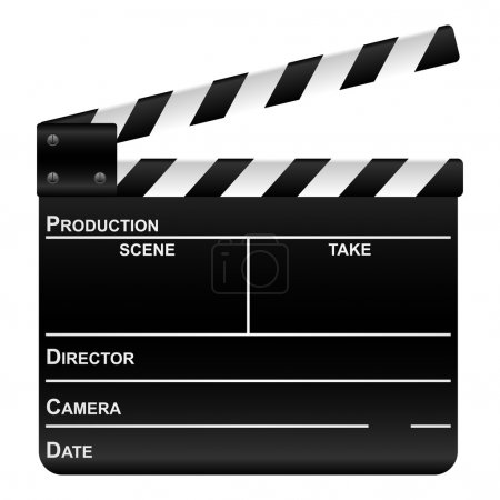 Movie clapper board on a white background. Vector illustration.