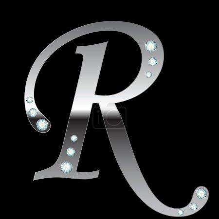 Lettre métallique argentée R