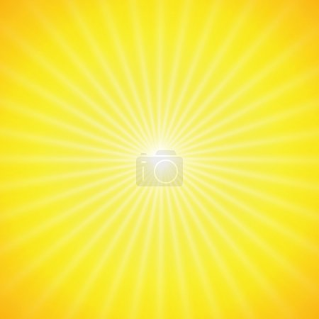 Illustration for Vector sun on yellow background with orange rays - Royalty Free Image