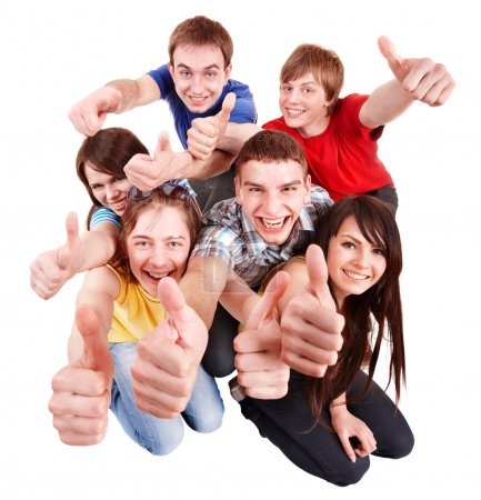 Photo for Group with thumbs up. Isolated. - Royalty Free Image