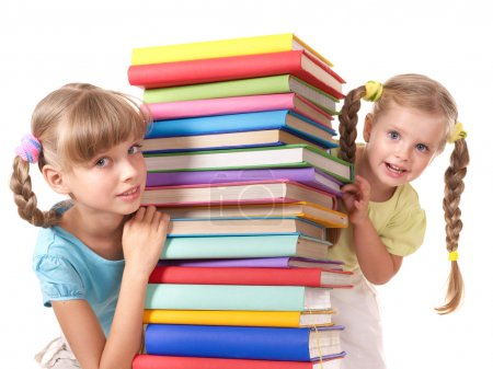 Children reading stack of book.
