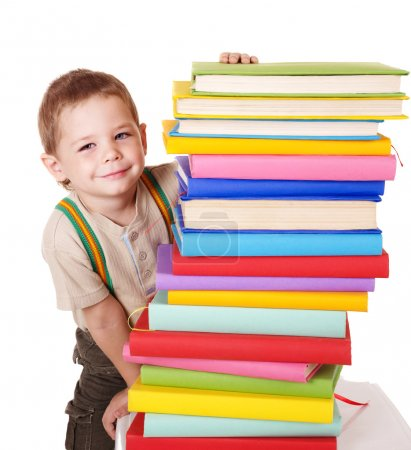 Child reading pile of books.