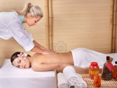 Photo for Young beautiful woman on massage table in beauty spa. Series. - Royalty Free Image