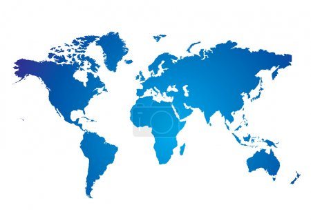 Photo for Blue and white Illustrated world map with white background - Royalty Free Image