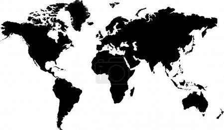 Photo for Isolated black and white map of the word that is editable - Royalty Free Image