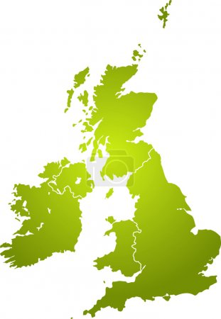 Photo for Illustration of the british isles in different shades of green isolated from the background - Royalty Free Image