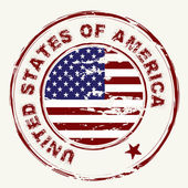 Us flag grunge ink stamp