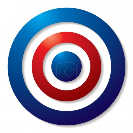 Photo for Tricolor target in red white and blue with shadow effect - Royalty Free Image