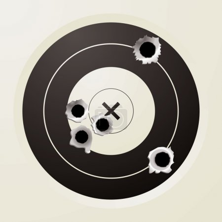 Shooting target in black and off white with bullet...
