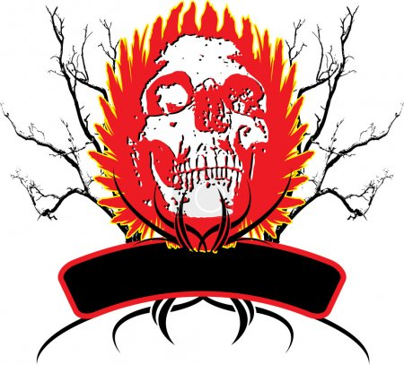 Abstract skull logo with buring wings and an area ...