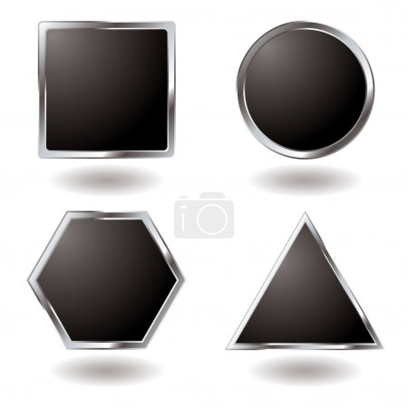 Illustration for Illustrated Silver button variation with a metallic bevel - Royalty Free Image
