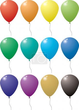 Illustration for Illustration of a collection of balloons in a variation of colors with string - Royalty Free Image