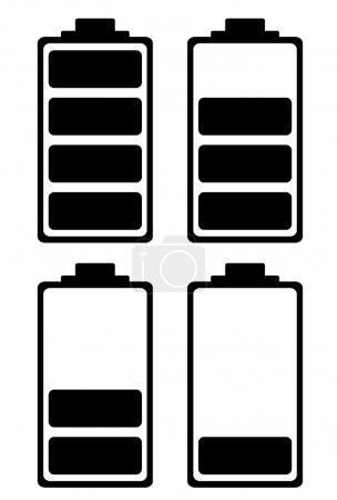 Illustration pour Batterie simple icône noir et blanc idéal pour l'interface téléphonique - image libre de droit