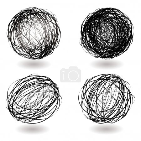 Illustration for Black scribble balls with drop shadow illustrated icons - Royalty Free Image