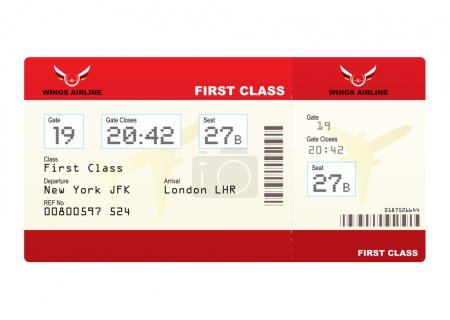 Photo for Red first class plane ticket with gate number and seat - Royalty Free Image
