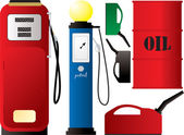 Illustration of an old fashioned petrol pump and canister