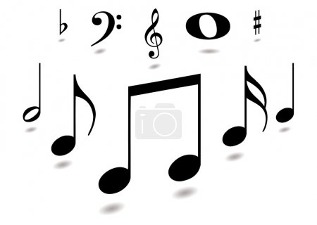 Photo for Collection of musical notes with drop shadow in black - Royalty Free Image