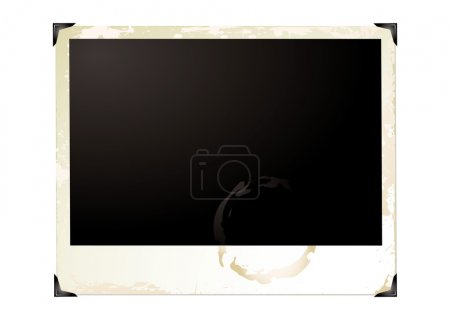 Illustration for Wide screen grunge polaroid with brown grunge effect - Royalty Free Image