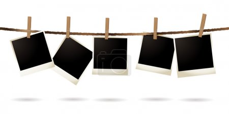 Photo for Collection of blank images hanging on a piece of string - Royalty Free Image