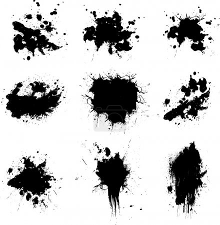 Illustration of many ink splats in black ready for...