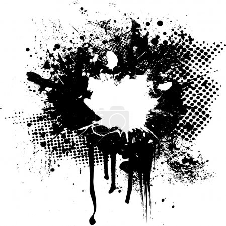 Halftone and ink splat abstract image with room fo...