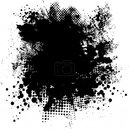 Illustrated black and white ink splat with room fo...