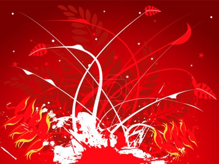 Floral red hot summer background with different le...