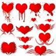 Illustrated heart shapes with different variation ...