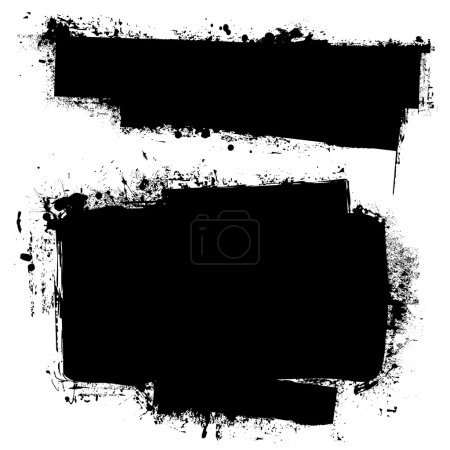 Illustration for Black ink banners with grunge effect and copy space for your text - Royalty Free Image
