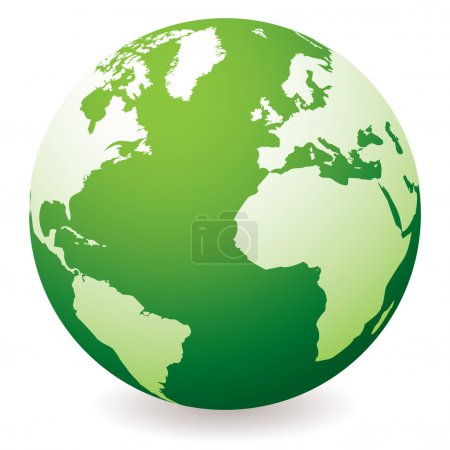 Illustration for Green planet earth showing a green globe with drop shadow - Royalty Free Image
