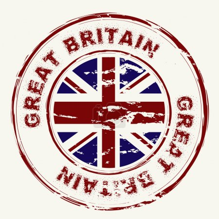 Photo for Great britain grunge ink rubber stamp with union flag - Royalty Free Image