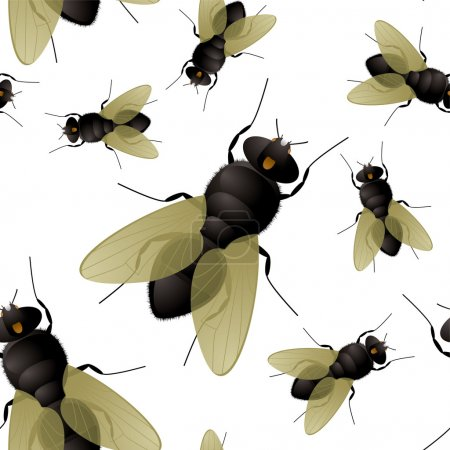 Illustration for Seamless fly insect background that repeats without a join - Royalty Free Image