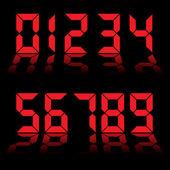 Digital numbers clock red