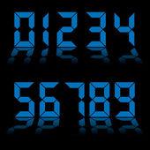Digital numbers clock blue
