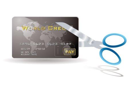 Pair of scissors cutting a credit card in half...