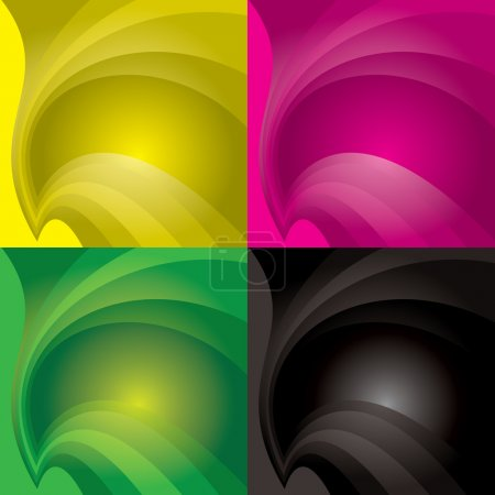 Illustration for Colourful background with flowing curve lines and copyspace - Royalty Free Image