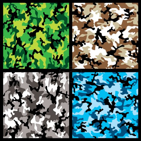 Photo for Collection of four different abstract colored camouflage backgrounds - Royalty Free Image