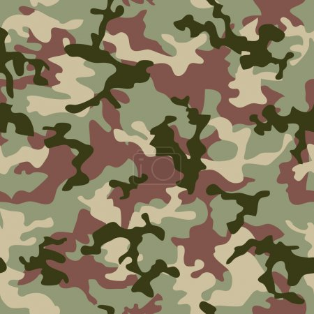 Photo for Illustrated Green camouflage seamless background in forest colors - Royalty Free Image