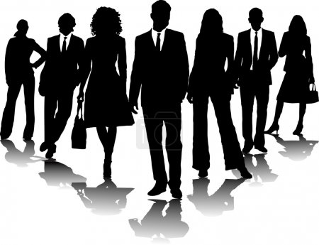 Photo for 7 office in black and white in a arrow formation - Royalty Free Image