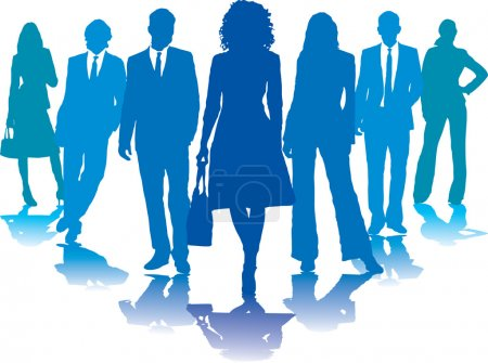 Photo for A small group of business in blue silhouettes - Royalty Free Image
