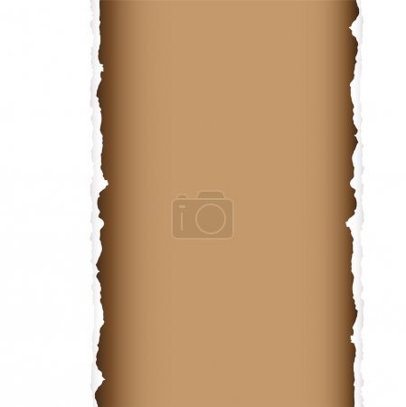 Illustration for Brown background with torn edges and white paper strip - Royalty Free Image