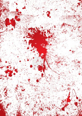 Blood splatter on a white wall background with gor...