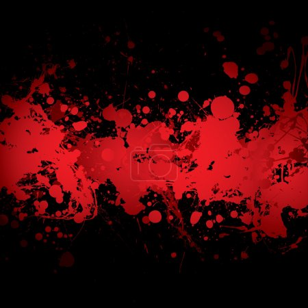 Photo for Abstract blood red ink splat banner with black background - Royalty Free Image